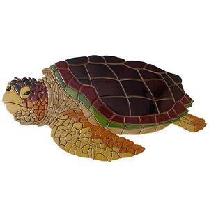 Loggerhead, Sideview (Special Order) - Pool Mosaic - NS994 - Artisry in Mosaics Custom Mosaics