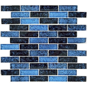 "Azure Black, 1"" x 2"" - Glass Tile"