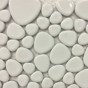 PEBBLE-102 - White, Mixed - Porcelain Pool Tile - Fujiwa