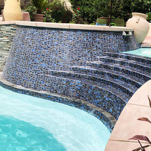 Summer Blue, Random Block | PILOS-404 | Fujiwa Porcelain Pool Tile
