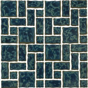 POWPLTMR342PT Aquatica Gulf Blue, Mixed Mosaic - Porcelain Pool Tile