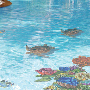 Loggerhead Turtle, Porc w/Shadow | PORC-LT4-10/SH | Pool Mosaic by Custom Mosaics