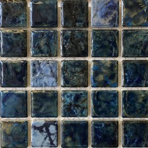 "SAGA-112 - Blue Blend, 1-1/8"" x 1-1/8"" - Porcelain Pool Tile - Fujiwa"