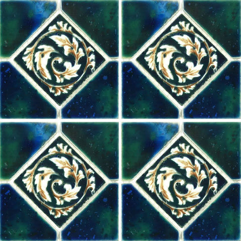 "STAK-338 - Fujiwa Crystal Emerald Blue, 6"" x 6"" Deco - Porcelain Pool Tile"