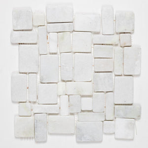 Stone Mosaics - Pure White - Flat Stone Pebble Tile