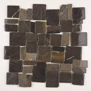 Stone Mosaics - Black - Flat Stone Pebble Tile