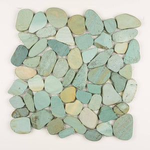 Stone Mosaics - Green - Shaved Pebble Tile