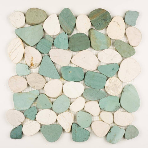 Stone Mosaics - Green and White - Shaved Pebble Tile