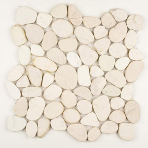 Stone Mosaics - White - Shaved Pebble Tile