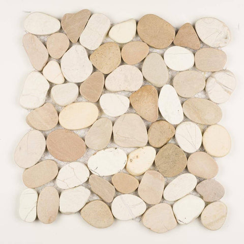 Stone Mosaics - White and Tan - Shaved Pebble Tile