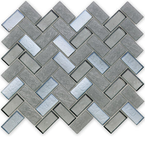 Moonlight, Herringbone - Glass Tile