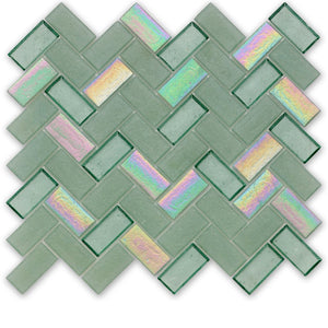Seagrass, Herringbone - Glass Tile