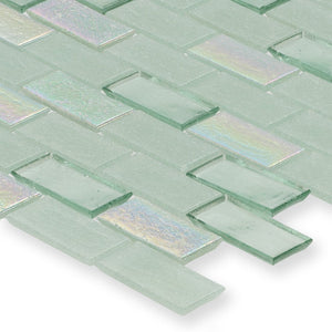 "Seagrass, 1"" x 2"" Staggered - Glass Tile"