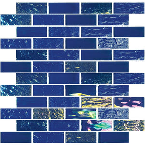 "TASNAUTNAVAL13 - Aquatica Naval Blue, 1"" x 3"" - Glass Tile"