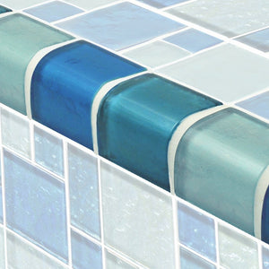 TRIM-GG8M2348B18 - Blue Blend Mixed, Trim - Glass Tile