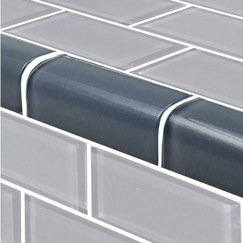 "Blue Gray, Trim 2"" x 4"" - Glass Tile"