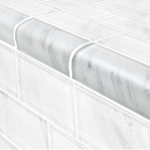 "Stratus White, Trim 2"" x 4"" - Glass Tile"