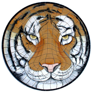 Tiger Face (Special Order) - Pool Mosaic - NS1410 - Artisry in Mosaics Custom Mosaics