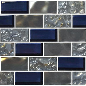 "Navy, 1"" x 2"" - Glass Tile"