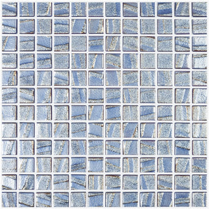 "AQUA DARK BLUE - Laguna Dark Blue, 1"" x 1"" Vidrepur Glass Mosaic Tile"
