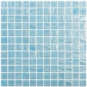 "AQUA FIRE BLUE - Laguna Fire Blue, 1"" x 1"" Vidrepur Glass Mosaic Tile"