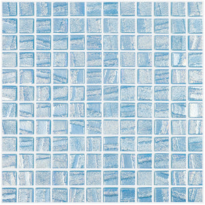 "AQUA LIGHT BLUE - Laguna Light Blue, 1"" x 1"" Vidrepur Glass Mosaic Tile"