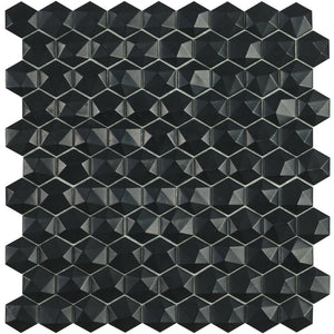 H35903MD - Matte Black, 3D Hexagonal Vidrepur Glass Mosaic Tile