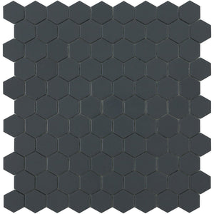 H35908M - Matte Dark Grey, Flat Hexagonal Vidrepur Glass Mosaic Tile