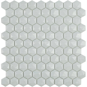 H35909MD - Matte Light Grey, 3D Hexagonal Vidrepur Glass Mosaic Tile