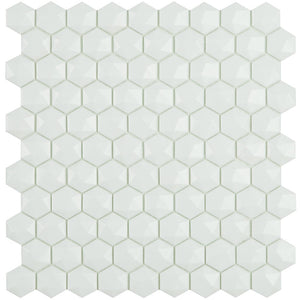 H35910MD - Matte White, 3D Hexagonal Vidrepur Glass Mosaic Tile