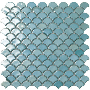 6001S - Brushed Turquoise Glass Fish Scale Glass Mosaic Tile by Vidrepur