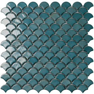 6003S Brushed Green Glass Fish Scale Mosaic Tile by Vidrepur