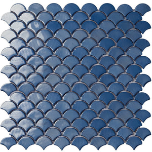 6004S Brushed Dark Blue Glass Fish Scale Mosaic Tile by Vidrepur