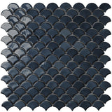 6005S Brushed Black Glass Fish Scale Mosaic Tile by Vidrepur