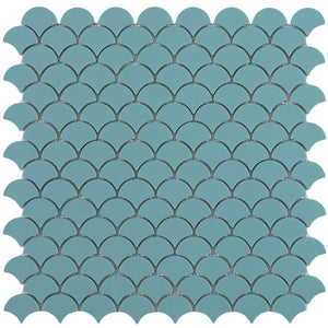 6101S Matte Turquoise Glass Fish Scale Mosaic Tile by Vidrepur