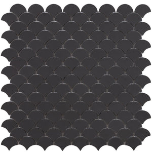 6105S Matte Dark Grey Glass Fish Scale Mosaic Tile by Vidrepur