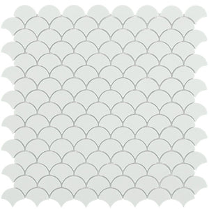 6106S Matte White Glass Fish Scale Mosaic Tile by Vidrepur