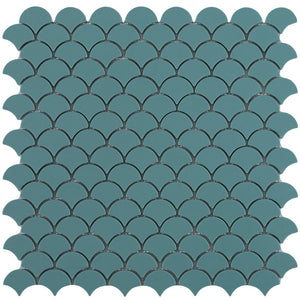 6107S Matte Green Glass Fish Scale Mosaic Tile by Vidrepur