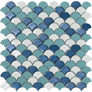 SOUL BLUE MIX Blue Mix Glass Fish Scale Mosaic Tile by Vidrepur