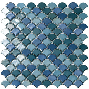 SOUL GREEN MIX Green Mix Glass Fish Scale Mosaic Tile by Vidrepur