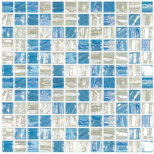 "BLUE STAR - Blue Star Blend, 1"" x 1"" Vidrepur Glass Mosaic Tile"