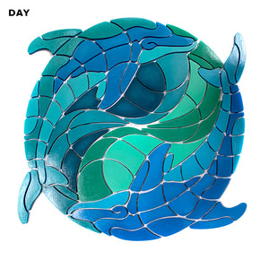 Yin Yang Dolphin Medallion Pool Mosaic | Glow in the Dark Pool Tile by Element Glo