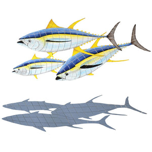 Yellowfin Tuna w/Shadow (Special Order) - Pool Mosaic - NS2192 - Artisry in Mosaics Custom Mosaics