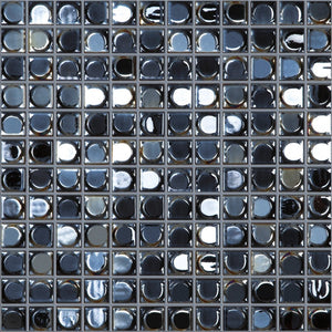 "AURA BLACK Black Iridescent, 1"" x 1"" - Glass Tile"