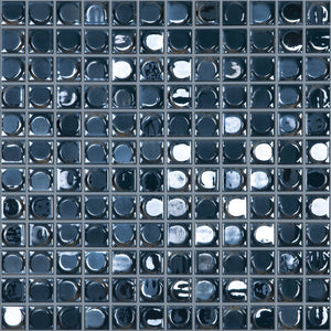 "AURA DARK BLUE Dark Blue Iridescent, 1"" x 1"" - Glass Tile"