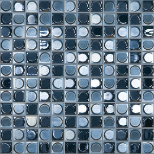 "NIGHT BLEND Night Blend Black/Silver Iridescent, 1"" x 1"" - Glass Tile"