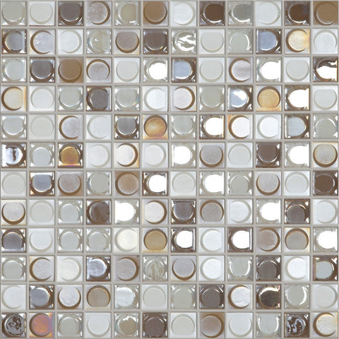 "NUDE BLEND Nude Blend White/Coffee/Gold Iridescent, 1"" x 1"" - Glass Tile"