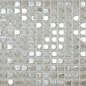 "AURA WHITE White Iridescent, 1"" x 1"" - Glass Tile"