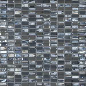 "BIJOU BLACK Mini Brick Black Mix Colors 358M-358L, 1/2"" x 1"" - Glass Tile"