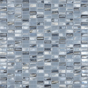 "BIJOU SILVER Mini Brick Silver Mix Colors 352M-352L, 1/2"" x 1"" - Glass Tile"